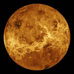 The atmosphere of Venus, like Mars, is nearly all carbon dioxide.