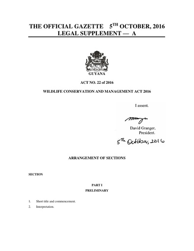 WILDLIFE CONSERVATION AND MANAGEMENT ACT 2016