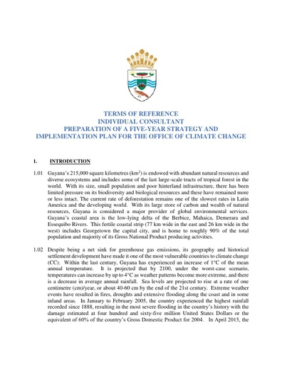 TERMS OF REFERENCE INDIVIDUAL CONSULTANT PREPARATION OF A FIVE-YEAR STRATEGY AND IMPLEMENTATION PLAN FOR THE OFFICE OF CLIMATE CHANGE