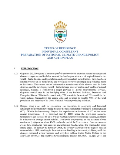 TERMS OF REFERENCE INDIVIDUAL CONSULTANT PREPARATION OF NATIONAL CLIMATE CHANGE POLICY AND ACTION PLAN