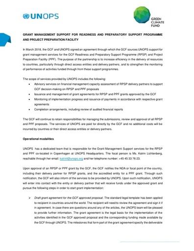 Information Letter GCF UNOPS Cooperation