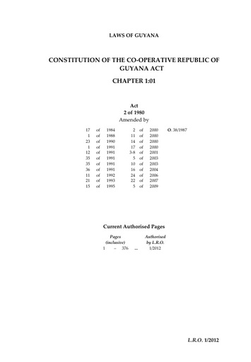 CONSTITUTION OF THE CO-OPERATIVE REPUBLIC OF GUYANA ACT CHAPTER 1:01