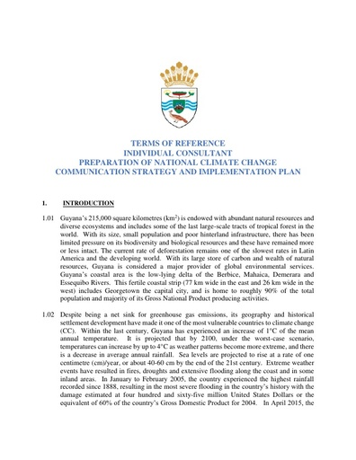 TERMS OF REFERENCE INDIVIDUAL CONSULTANT PREPARATION OF NATIONAL CLIMATE CHANGE COMMUNICATION STRATEGY AND IMPLEMENTATION PLAN