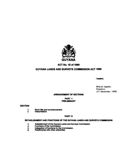 GUYANA LANDS AND SURVEYS COMMISSION ACT 1999