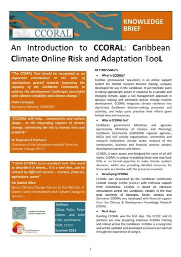 Caribbean Climate Online Risk and Adaptation Tool (CCORAL) Brochure