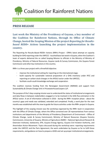 Guyana Reporting for Results-Based REDD+ Actions (RRR+) , Press Release