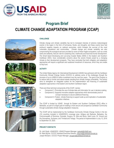 Climate Change Adaptation Program (CCAP), Program Brief
