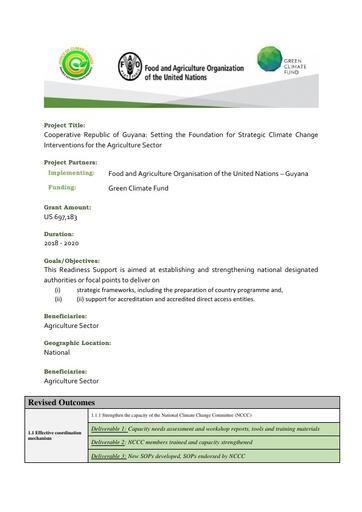 GCF Readiness Agriculture Summary